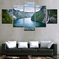 Tela Stampe HD Poster Immagini di Arte Della Parete 5 Pezzi di Montagna E il Fiume Pittura di Paesaggio Naturale Poster Complementi Arredo Casa Quadro