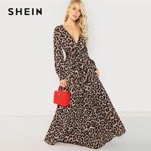 SHEIN 多色パーティーセクシーな冥衣ネックヒョウ柄オーバーラップ長袖ドレス 2018 秋のストリート女性マキシドレス