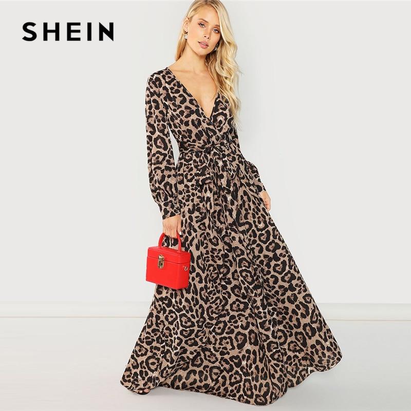 SHEIN multicolore fête Sexy surplis cou imprimé léopard chevauchement manches longues robe 2018 automne Streetwear femmes Maxi robes