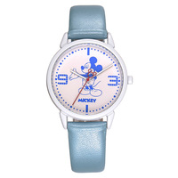 Disney Brand Original Fashion Children Boys Girls Leather Quartz Clocks Cartoon Mickey Mouse Students Watches Waterproof