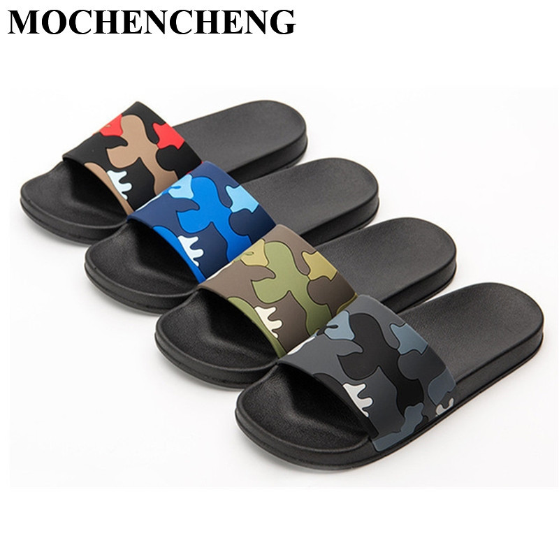 New Slippers Men Shoes Unisex Flat Home Slippers Camouflage Soft Anti-skid Design Stylish Indoor Bathroom Slippers Beach Sandals