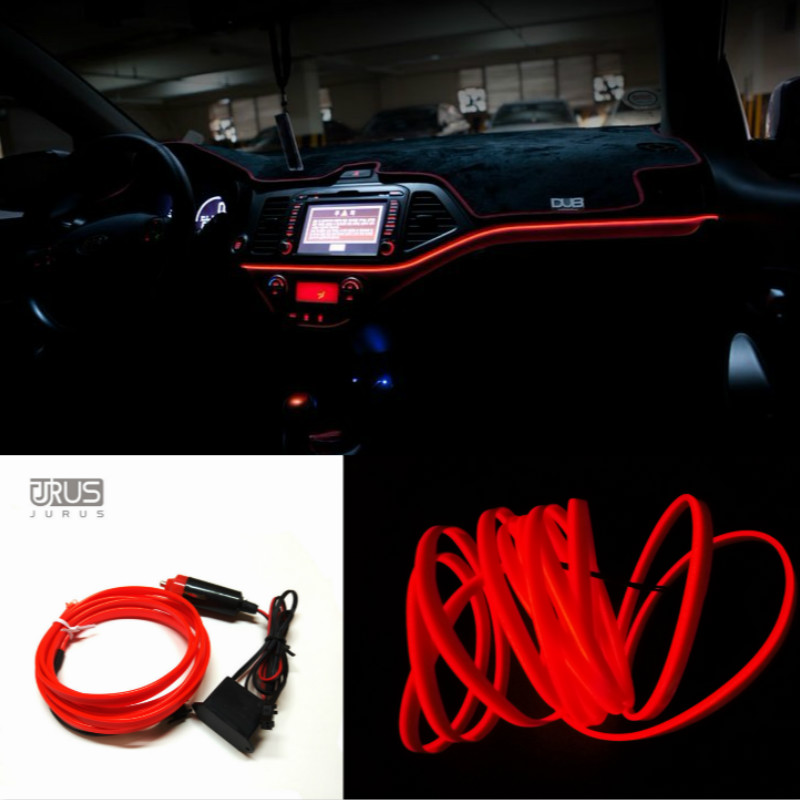 jurus car styling 2meters flexible neon interior light el cold strip tube wire colors diy. Black Bedroom Furniture Sets. Home Design Ideas