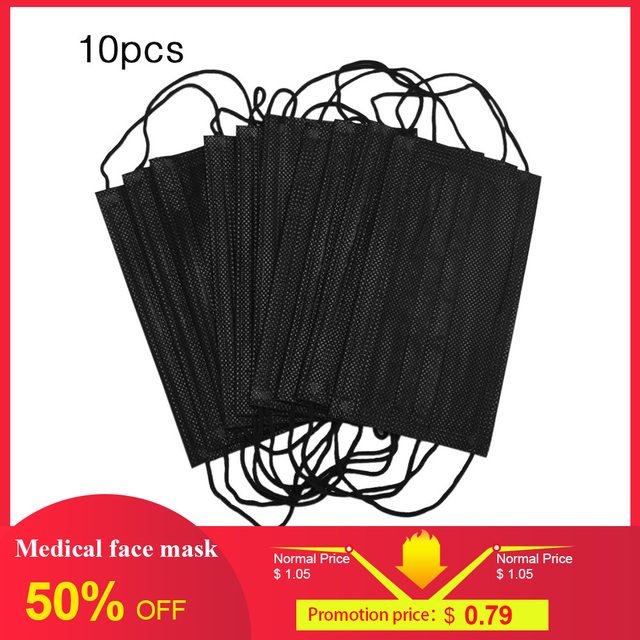 10Pcs Mouth Mask Disposable Black Cotton Face Mask Medical  Dental Anti-Dust Face Surgical Masks 3 Filter Earloop Activated Carb