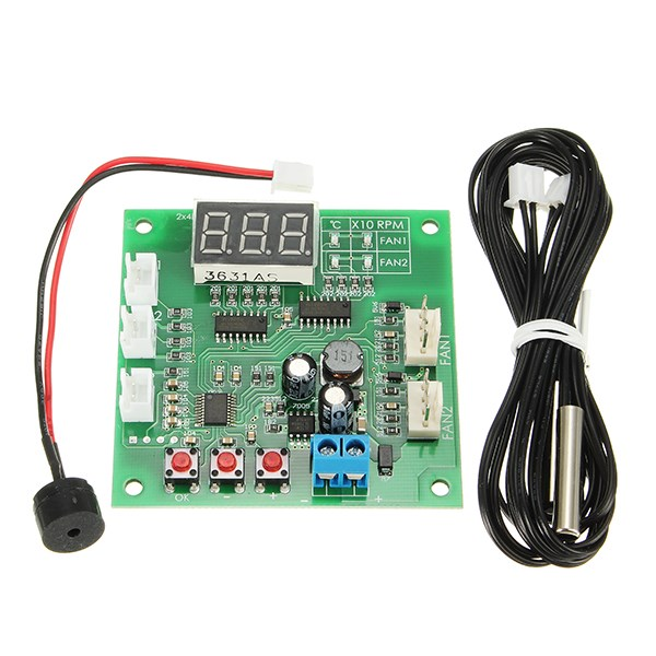 1PC Two Way Heat Dissipation PWM Four Wire Fan Temperature Controller 12V24V48V Temperature Speed Display Stop Alarm Board