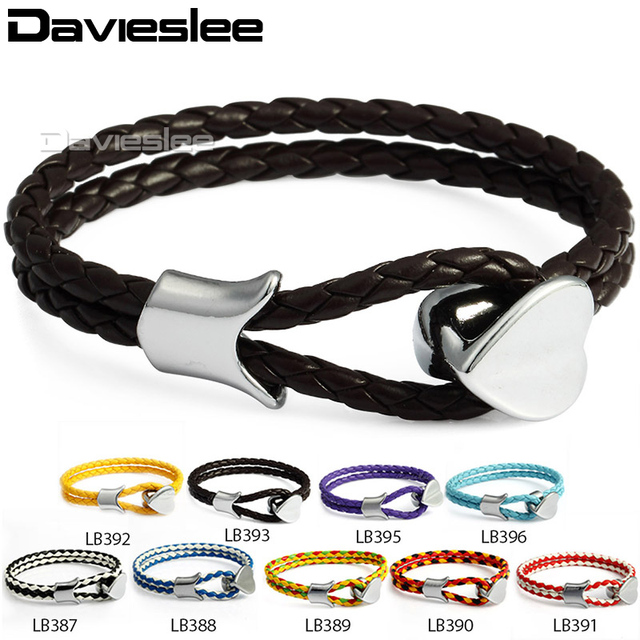 8mm 2 Strand Rope Braided Weave Mens Womens Man Made Leather Bracelet Wristband Surfer W
