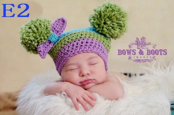 2017 Симпатичные для новорожденных Обувь для девочек зимние теплый вязаный цветок крючком Шапка-бини Кепки Высокое качество!