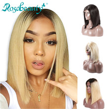 RosaBeauty 1B 613 Ombre Blonde Lace Front Human Hair Wigs For Black Women Brazilian Short Bob Straight Frontal Wigs pre plucked(China)