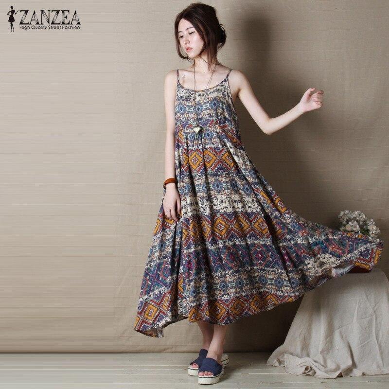 ZANZEA 2018 Maxi Long Dress Bohemian Summer Beach Vintage
