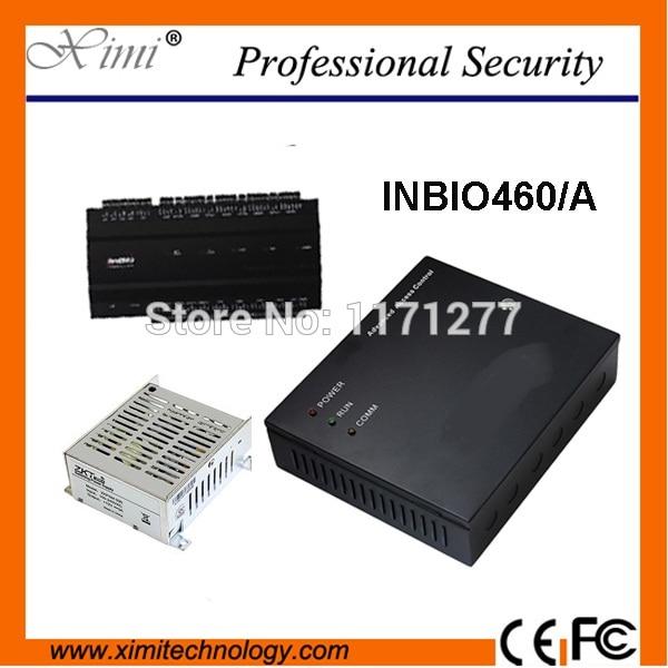 Fingerprint access control system panel with power protection case TCP/IP ZK INbio460 fingerprint reader sensor