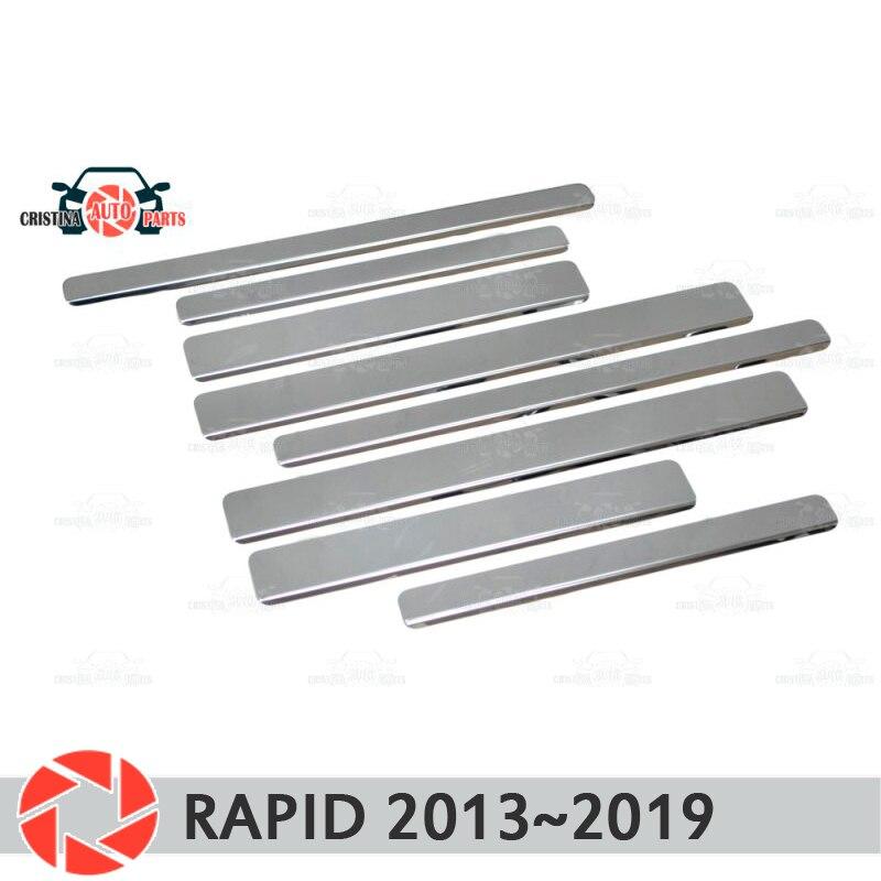 Soleiras de porta para Skoda Rápida 2013 ~ 2019 passo placa interna scuff guarnição acessórios de proteção car styling decoração