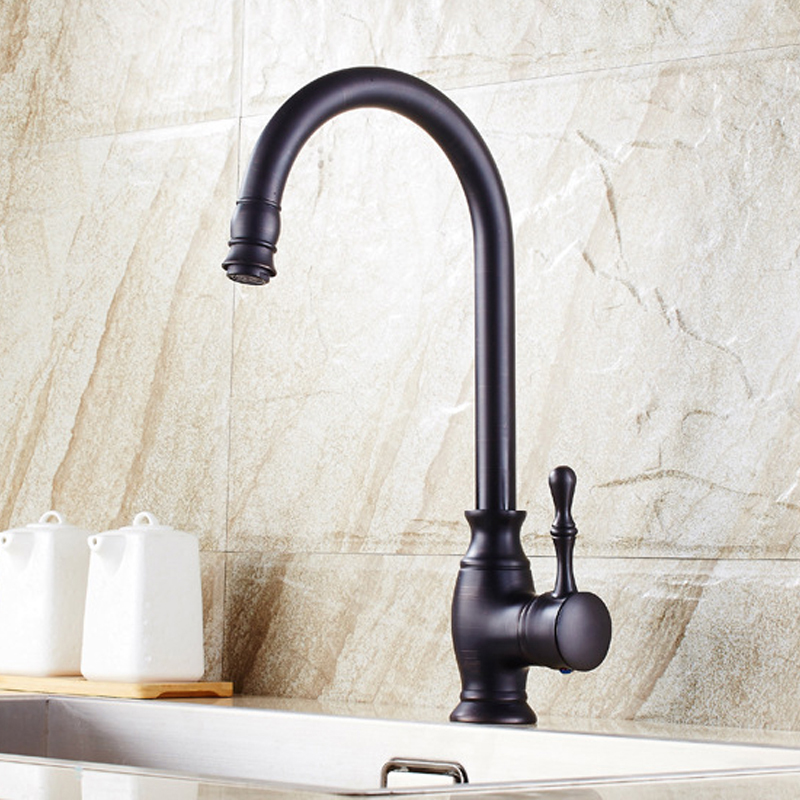 IMPEU Contemporary High-arch Kitchen Faucet, One Hole One Handle, Solid Brass 360 Degree Swivel Spout Hot Cold Water, Black, ORB