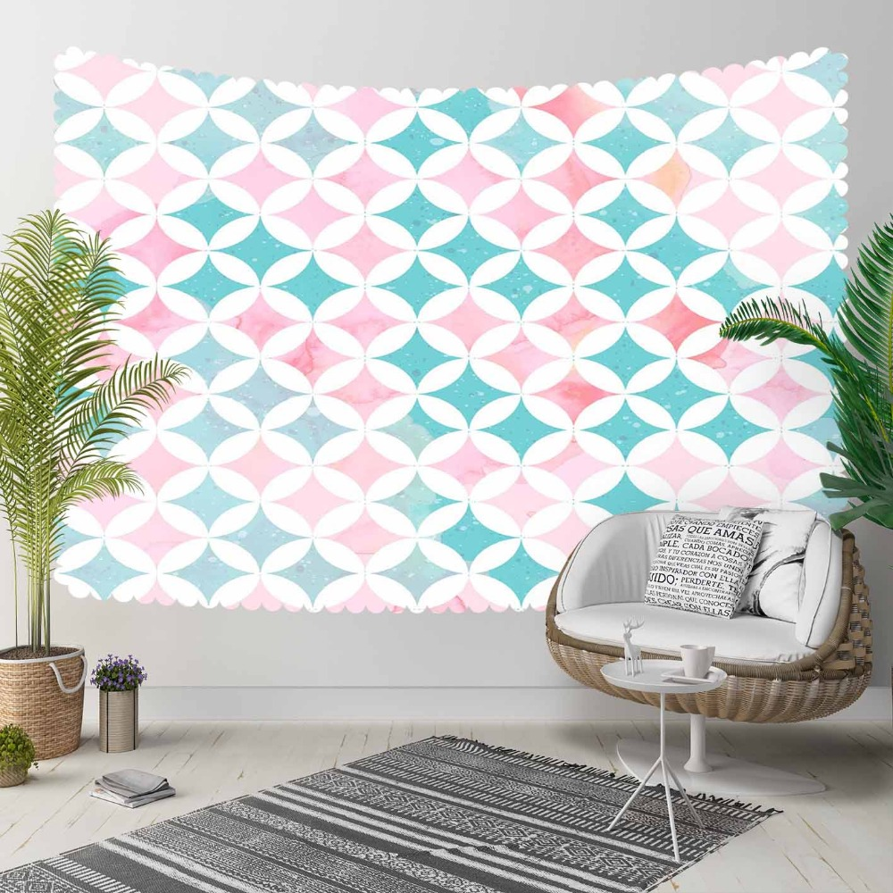 Else Green Pink Tiles Geometric Watercolor Ethnic 3D Print Decorative Hippi Bohemian Wall Hanging Landscape Tapestry Wall Art