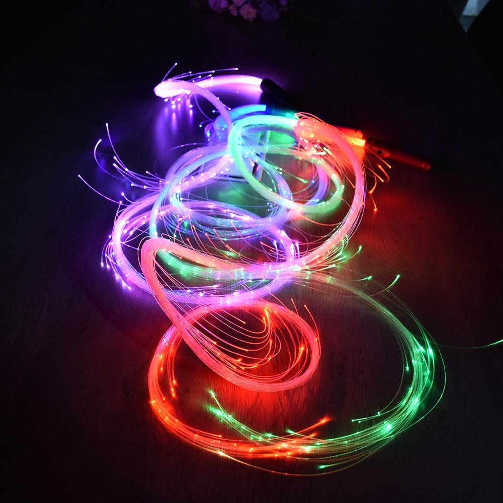 LED Fiber Optic Whip Dance Whip 360 Swivel 6FT Toy Light Up Glow Rave Toy 360 Degree Multicolor Fiber Optic Flashlight