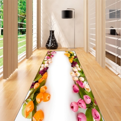 Else Yellow Pink Cream Tulips Green Leaves 3d Print Non Slip Microfiber Washable Long Runner Mat Floor Mat Rugs Hallway Carpets