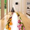 Sonst Gelb Rosa Creme Tulpen Grüne Blätter 3d Print Non Slip Mikrofaser Waschbar Lange Runner Mat Boden Matte Teppiche Flur teppiche-in Teppich aus Heim und Garten bei