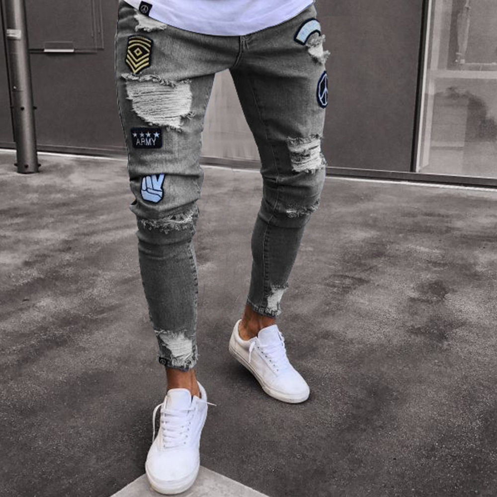 New mens hip-hop high-end tight-fitting hole narrow feet pants mens elastic jeans decals tight skinny jeans ...
