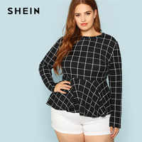 SHEIN Black And White Plaid Ruffle Hem Women Workwear Plus Size Blouse 2018 Office Lady O Neck Grid Print Peplum Autumn New Top