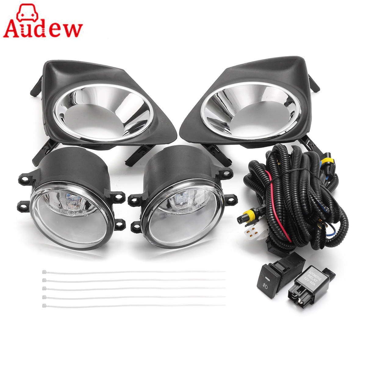 1Pair Car Fog Lamp+Frame /W H11 Light Bulb Switch Wire Harness For Toyota/Corolla 2011-2013 for opel astra h gtc 2005 15 h11 wiring harness sockets wire connector switch 2 fog lights drl front bumper 5d lens led lamp