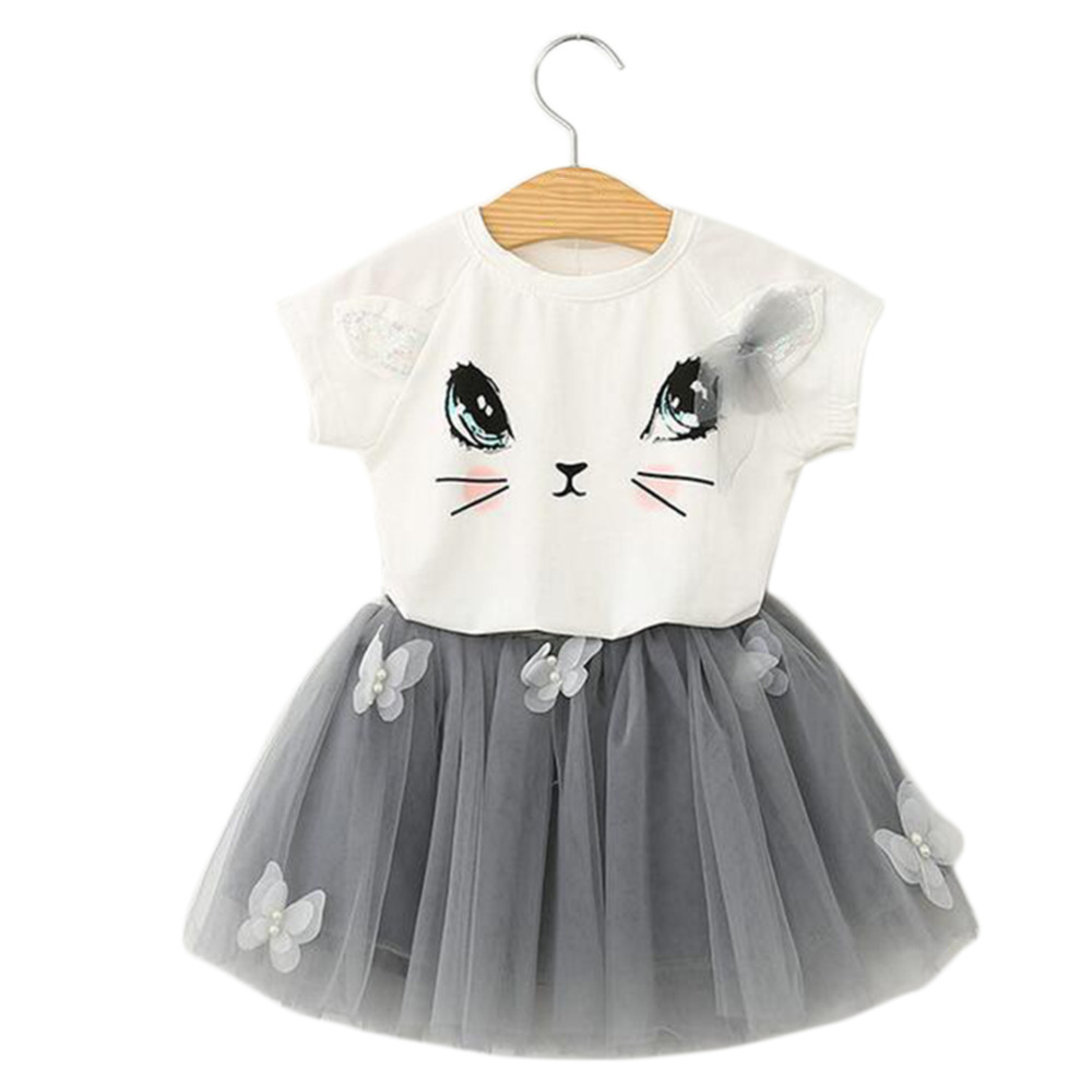 2017 Girls Clothing Set Cartoon Cat T Shirt Yarn Tutu Lace Skirt Children Kids Clothes Suits Fashion Toddler Clothes