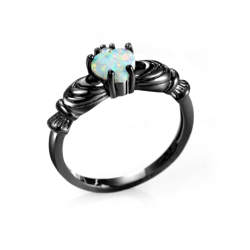Новые Элегантные сердце покроя RAINBOW опал кольцо Модные Белые Свадебные украшения Обручение обещание Кольца