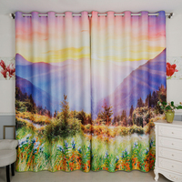 2x Window Drapery Nursery Kids Children Room Curtain Window Dressing Tulle Covering 200x260cm Scenic Montain Sunrise Grassland