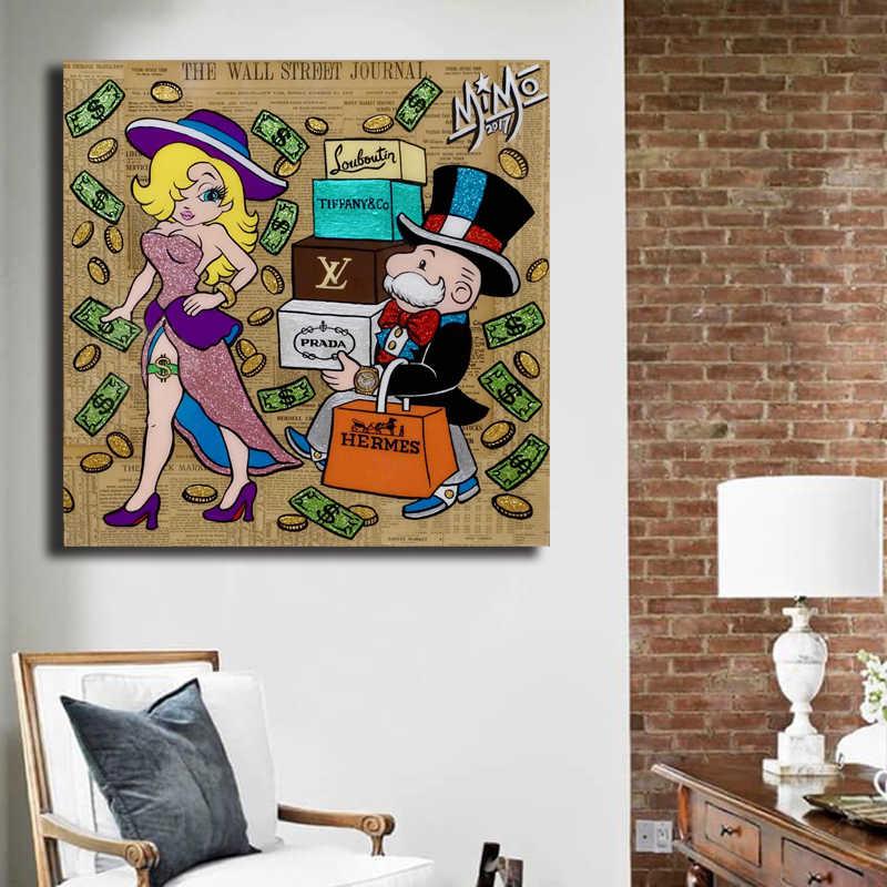 Mikes Mozarts Shopping Spree Alec Monopolyingly Della Tela di Canapa Pittura a Olio di Stampa Poster da Parete Art Hd Picture For Living Room Complementi Arredo Casa
