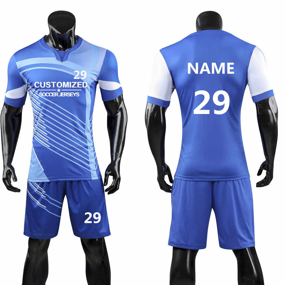 9d4c8202d New Men Soccer Sets Football Jerseys Shirts Sport Kit Training Suit  Volleyball Uniforms Breathable Custom Pint
