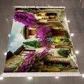 Еще фиолетовые деревья кантри Таун стрит 3d Рисунок печать микрофибра Противоскользящий задний моющийся декоративный ковер