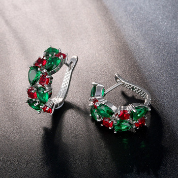 CARSINEL Red Green Zirconia Hoop Earrings For Women Fashion Silver color CZ Earring Wedding Party Jewelry.jpg 350x350 - CARSINEL Red Green Zirconia Hoop Earrings For Women Fashion Silver color CZ Earring Wedding Party Jewelry ER03c