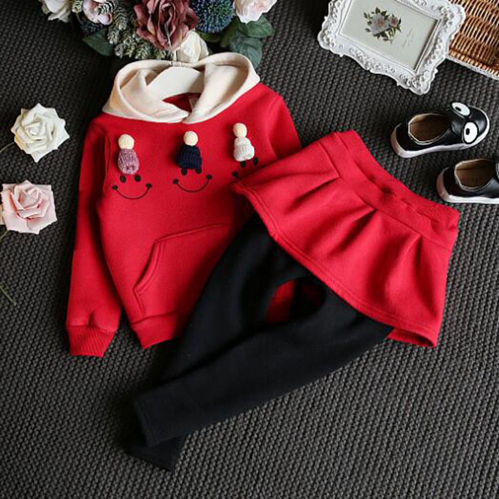 Fashion children's clothing autumn winter new red pink hooded sweater plus skirt pants thick two-piece suit Dress the girl Y6908 autumn and winter wear new suit children sweater hooded culottes two piece suit for girls