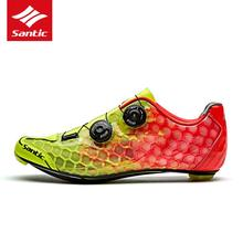 Santic Cycling Shoes Men Carbon Fiber font b Road b font Bike Shoes Breathable Self Locking