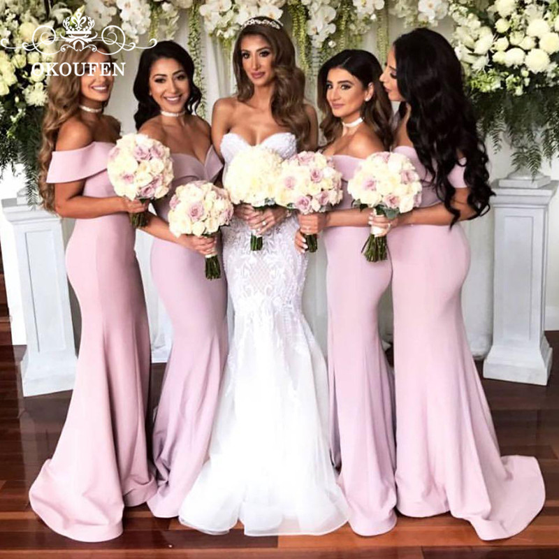 OKOUFEN Mermaid Long Bridesmaid Dresses Sexy Off Shoulder 2018 Sweep Train Lace Up Back Women Party Dress For Wedding Gown