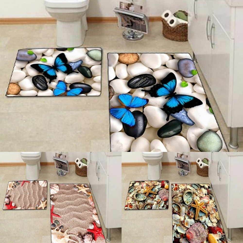 Else Blue Butterfly Sea Shells Sand Star Stones 3d Print Non Slip Microfiber 2 Piece Bath Mat Set For Bathroom 90x60cm 50x60cm