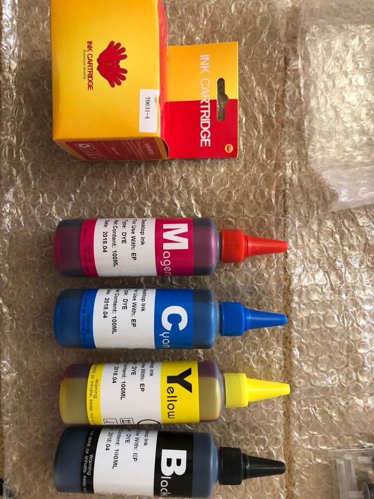 Dye Ink For EPSON Printers Premium 100ML 4 Color Ink BK C M Y for Epson Stylus TX106 TX109 TX117 TX119 C51 C91 CX4300 printer