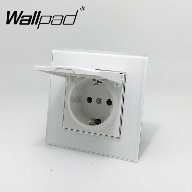 1 Gang polvo Schuko Socket Wallpad cristal blanco 110 V-250 V Schuko enchufe de pared UE con garras Hook Clips
