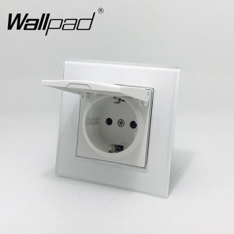 1 tapón de polvo de banda Schuko Socket Wallpad Panel de cristal blanco 110 V-250 V enchufe de pared de energía de la UE con pinzas de gancho