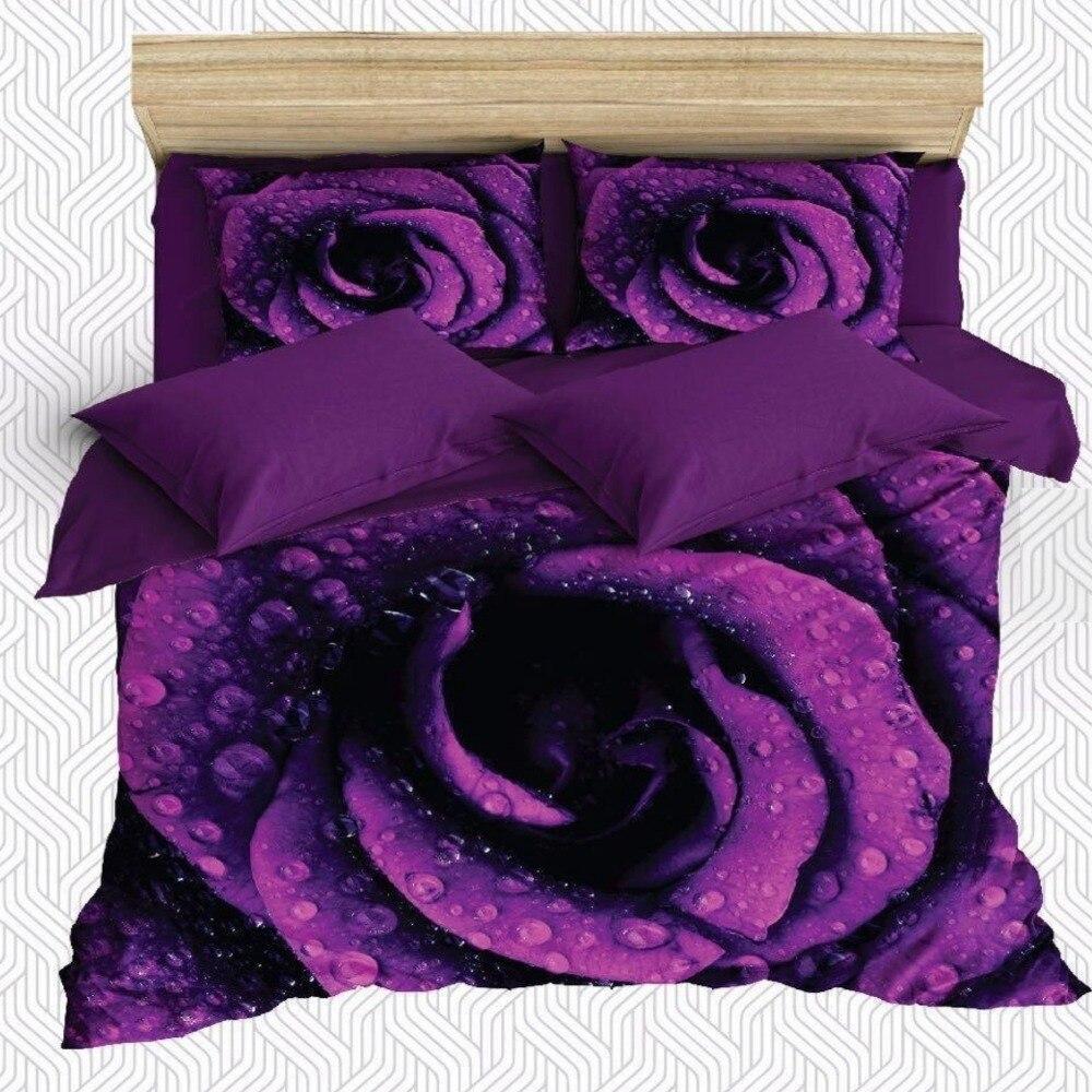 Autre 6 pièces violet grandes Roses fleurs sur goutte d'eau impression 3D coton Satin Double housse de couette literie ensemble taie d'oreiller drap de lit