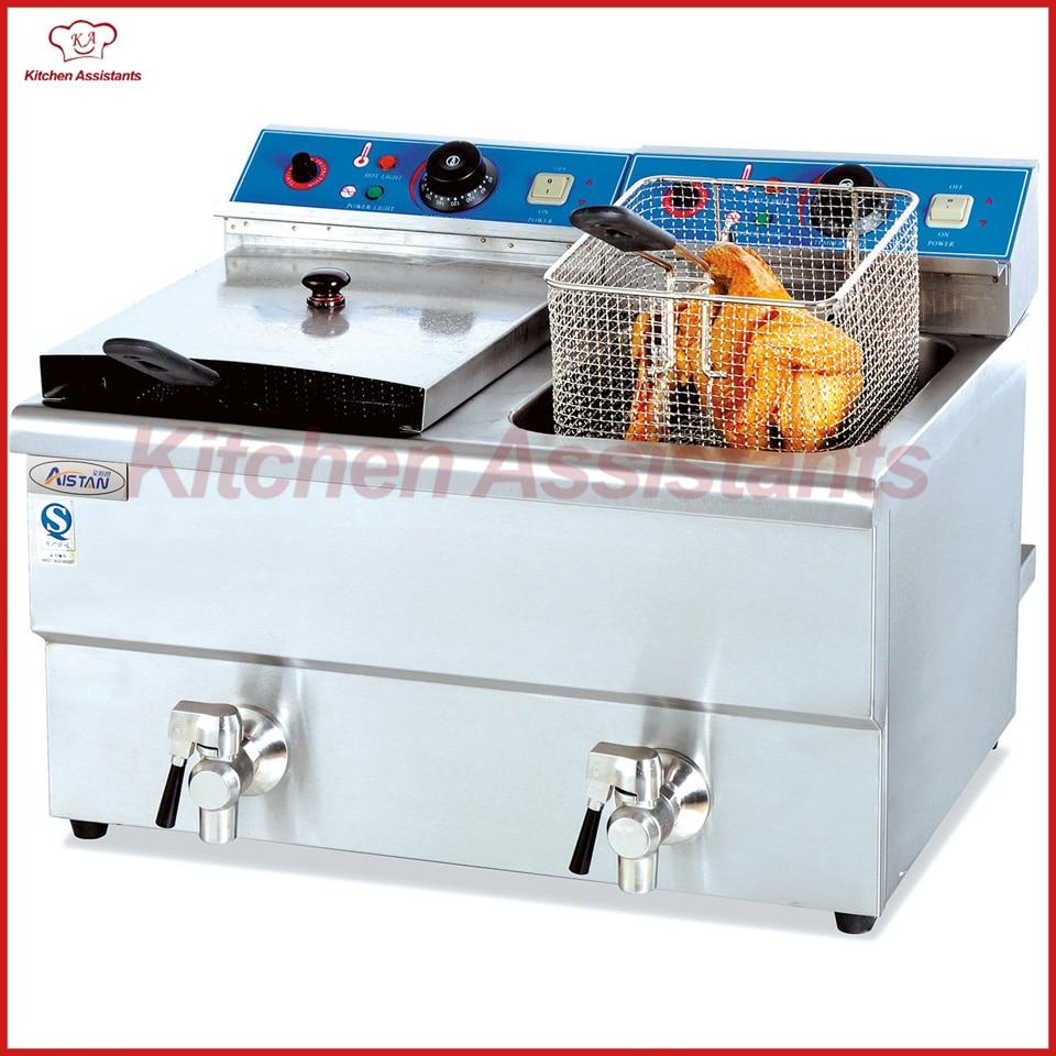 DF12L-2 counter top electric deep fryer potato fryer hy81 hy82 6l 12l stainless steel electric deep oil fryer potato chip fryer