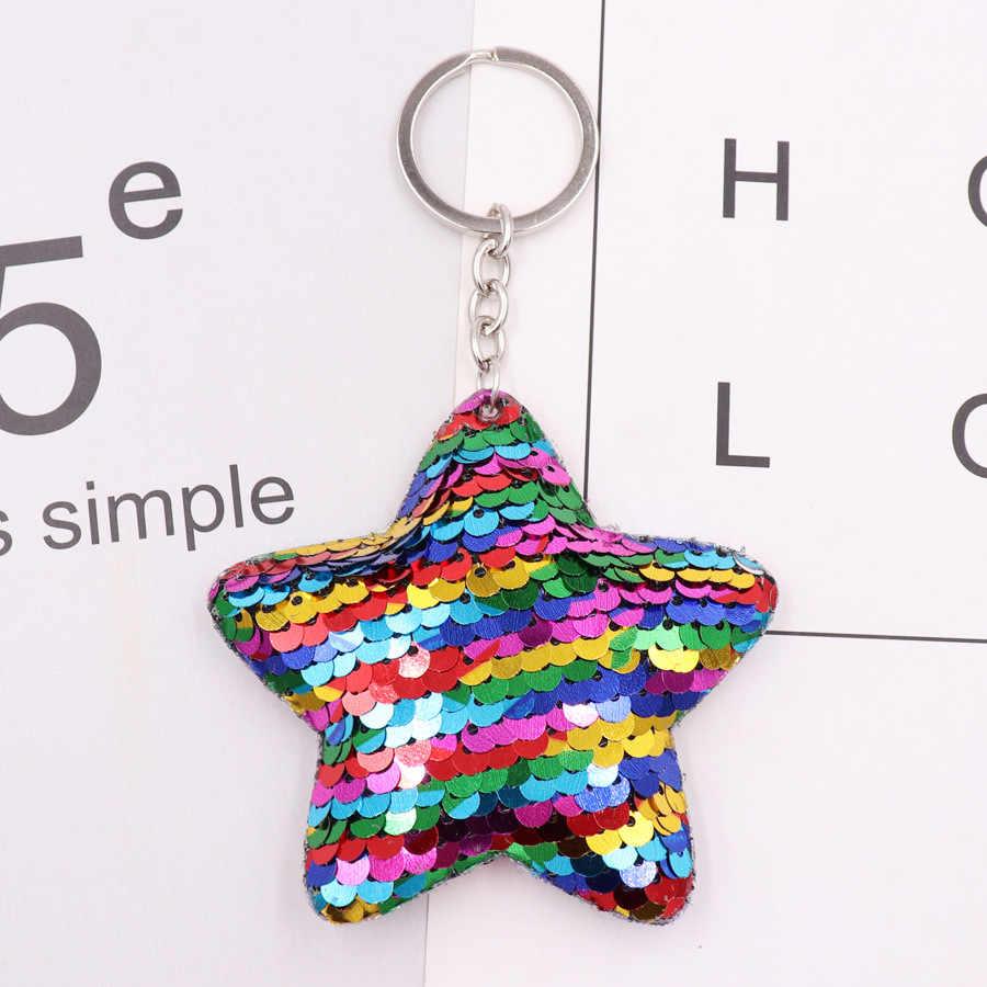 1 Uds delfín estrella animal llavero pompones con brillo lentejuelas llavero de regalo de coche para mujeres coche bolsa de accesorios clave anillo de la joyería