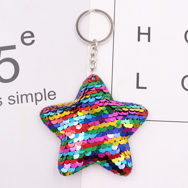 1PCS Dolphin Star Unicorn animal Keychain Glitter Pompom Sequins Key Chain Gifts for Women  Car Bag Accessories Key Ring Jewelry 1