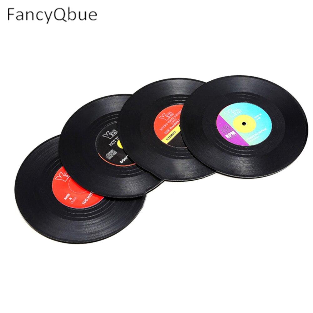 <font><b>6</b></font> or 4 pcs/<font><b>set</b></font> <font><b>Creative</b></font> <font><b>placemats</b></font> Record Like <font><b>Cup</b></font> Mat Place Mat Table Decoration Vinyl Disc <font><b>Coasters</b></font> <font><b>Placemat</b></font> Dia 10.5*0.2CM