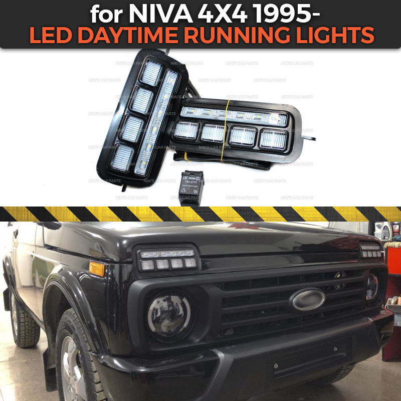 LED Daytime Running Lights for Lada Niva 4x4 1995 1 set 2 pcs with a running