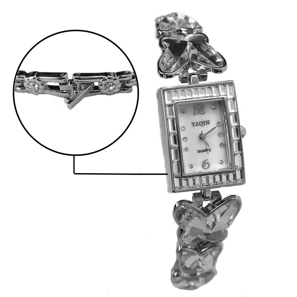 Female Analog Quartz Rectangular Wrist Watch Japan PC21J Movement Ladies Fashion Yaqin White Dial