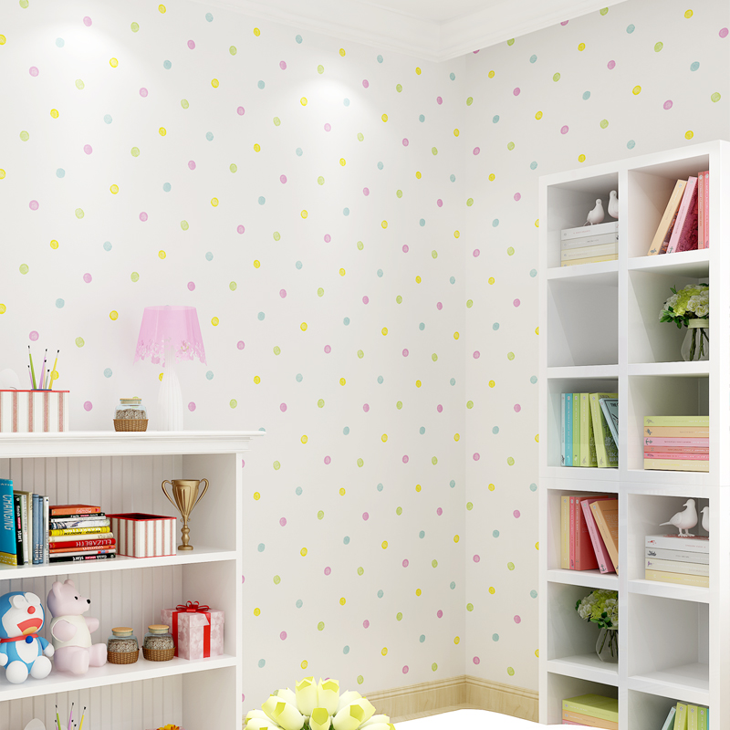 Cute Cartoon Kids Room Colorful Dot Wall Paper Baby Boys Girls Bedroom Wallpaper Mural Papier Peint Children Wallpapers QZ120