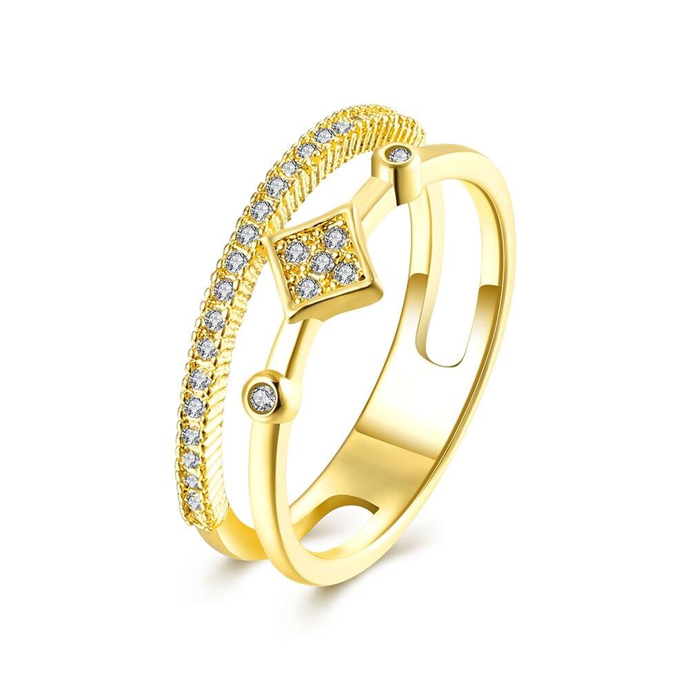 Lureme творческие украшения розовое золото Цвет с кубического циркония  геометрия в форме кольца для Для женщин Обручальные кольца (rg001707) c3d5de4c5d8