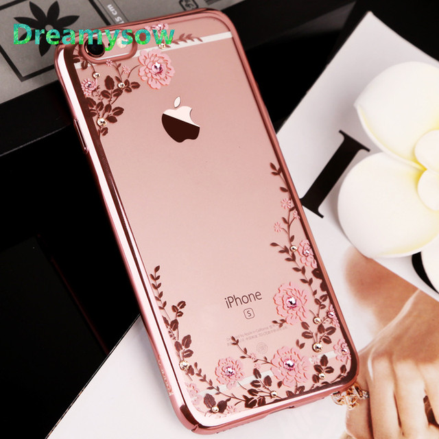 Dreamysow Crystal Clear Flowers Diamond Plating TPU Soft Case For iPhone XS MAX XR 6S 6 7 8 plus X 5S SE 5 XS Clear Phone Cover