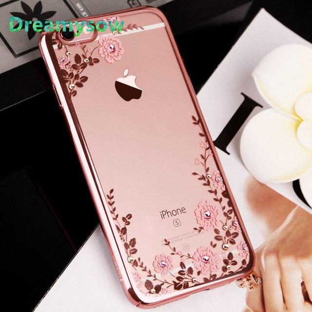 Dreamysow Pha lê Hoa Kim Cương Mạ Mềm TPU Dành Cho iPhone XS MAX XR 6 S 6 7 8 Plus X 5 5S SE 5 XS Điện Thoại Rõ Ràng Bao