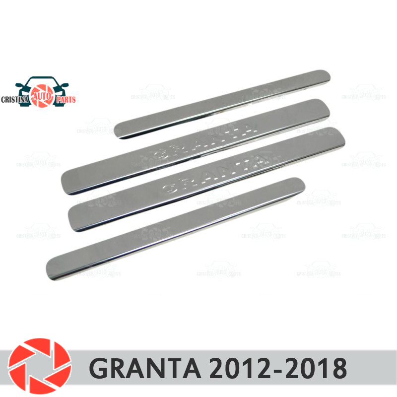 Para Lada Granta 2012-2018 soleiras de porta passo placa painel protectection styling car decoração de interiores moldagem painel da porta selo