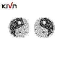 KIVN Fashion Jewelry Pave CZ Cubic Zirconia Magic Yin Yang Balance Amulet Earrings for Women