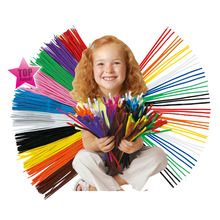 200pcs Twist strip DIY Handicraft Materials Creative shilly-stick colorful soft Velvet + Gift Pompom & Movable Eyes